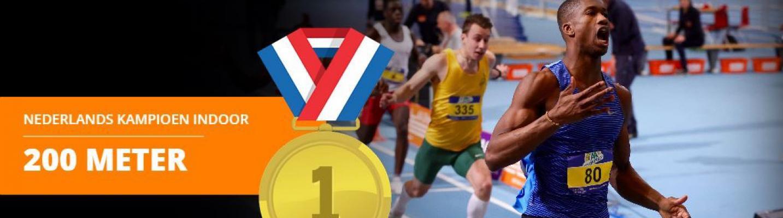 Student Chidel Cecilia Nederlands Kampioen 200 m indoor sprint